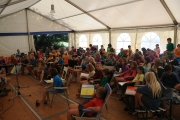 A fix topic on our daily agenda is our meeting in the large tent with singing songs <br>and a story from Jesus